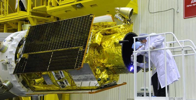 EgyptSat 2 during prelaunch processing. Credit: RKK Energia