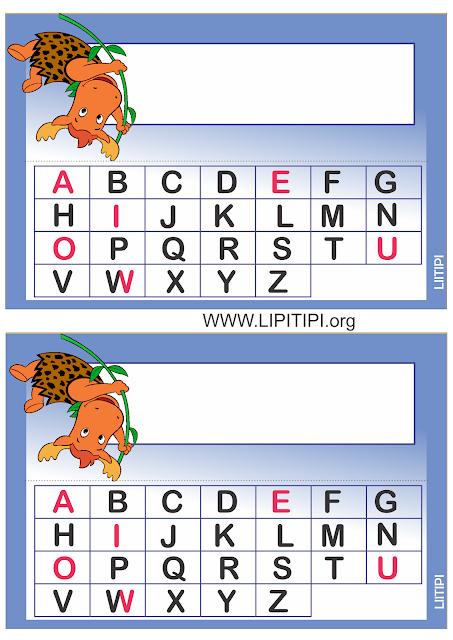 Crachás de mesa Backyardigans  com alfabeto