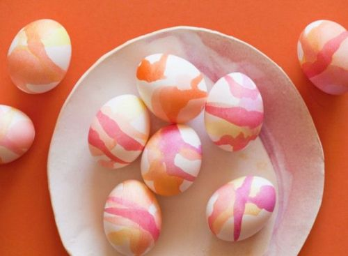 nearly monochrome watercolor Easter eggs