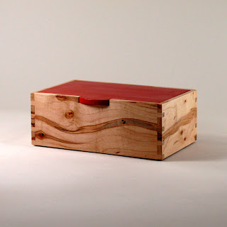 Handmade box of Ambrosia Maple with Lid stained Colonial Red