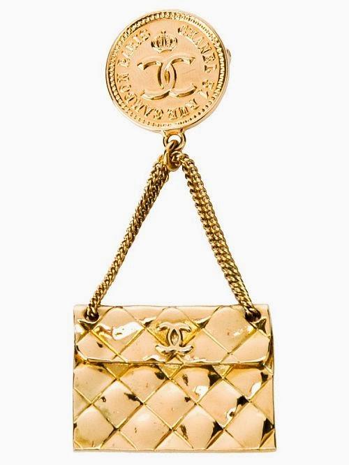 Chanel gold bag brooch