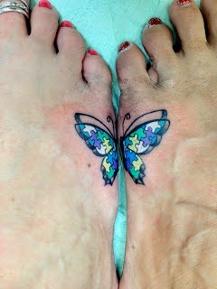 ♥ ♫ ♥ Matching foot tattoos (Great for mother and daughter to represent a family member on the spectrum or a best friend.)  ♥ ♫ ♥