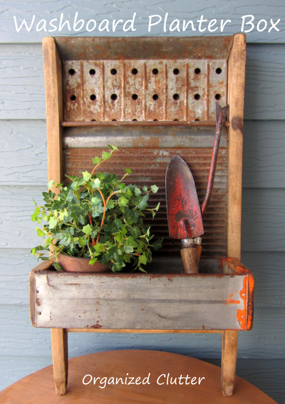Washboard & Lag Screw Bin Planter Box www.organizedclutterqueen.blogspot.com