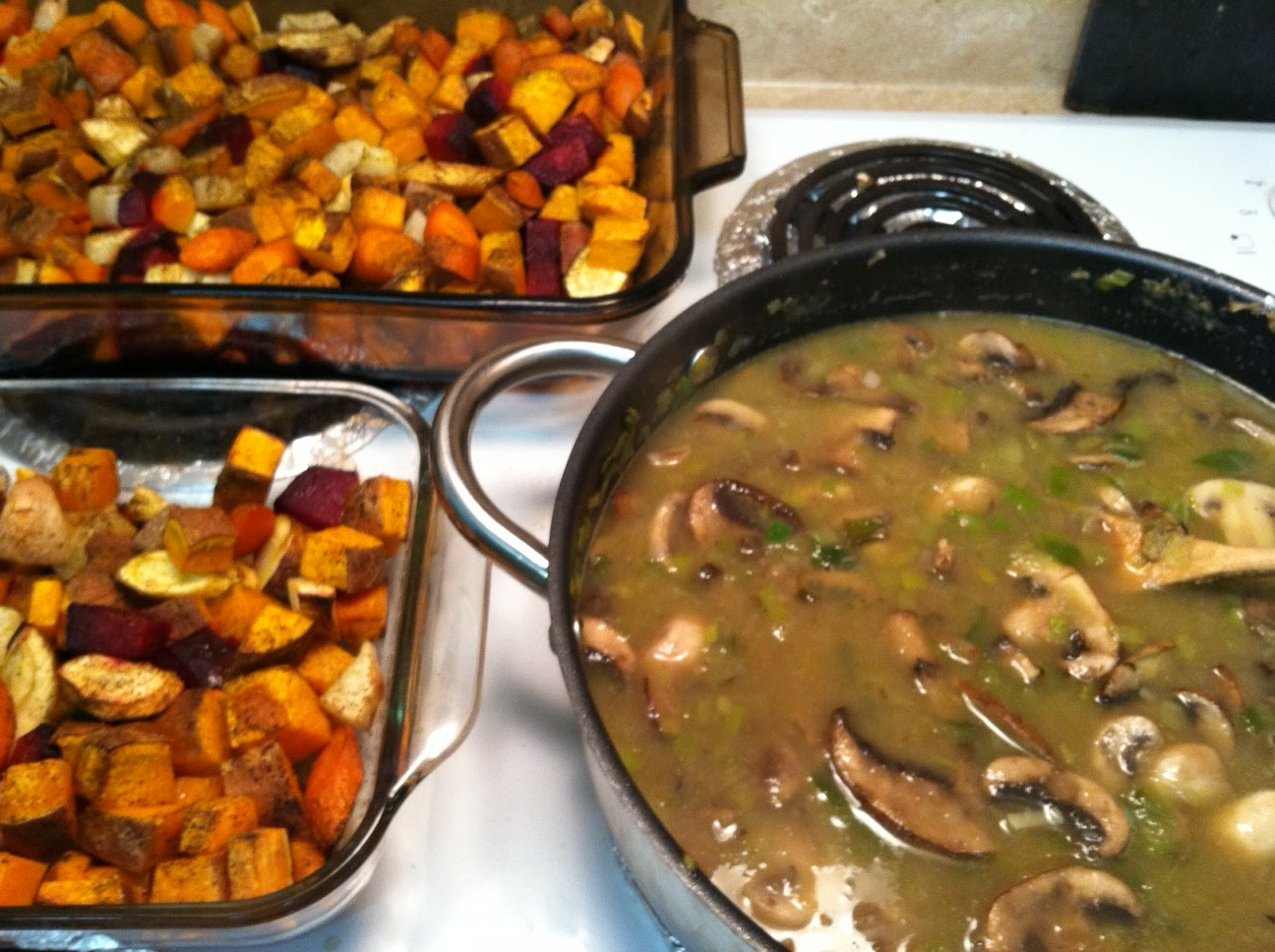 Below: Roasted vegetables and mushroom gravy