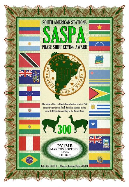 Foto do diploma SASPA 300 oferecido pelo EPC