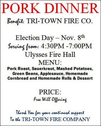 11-8 Pork Dinner, Tri-Town Fire Co.