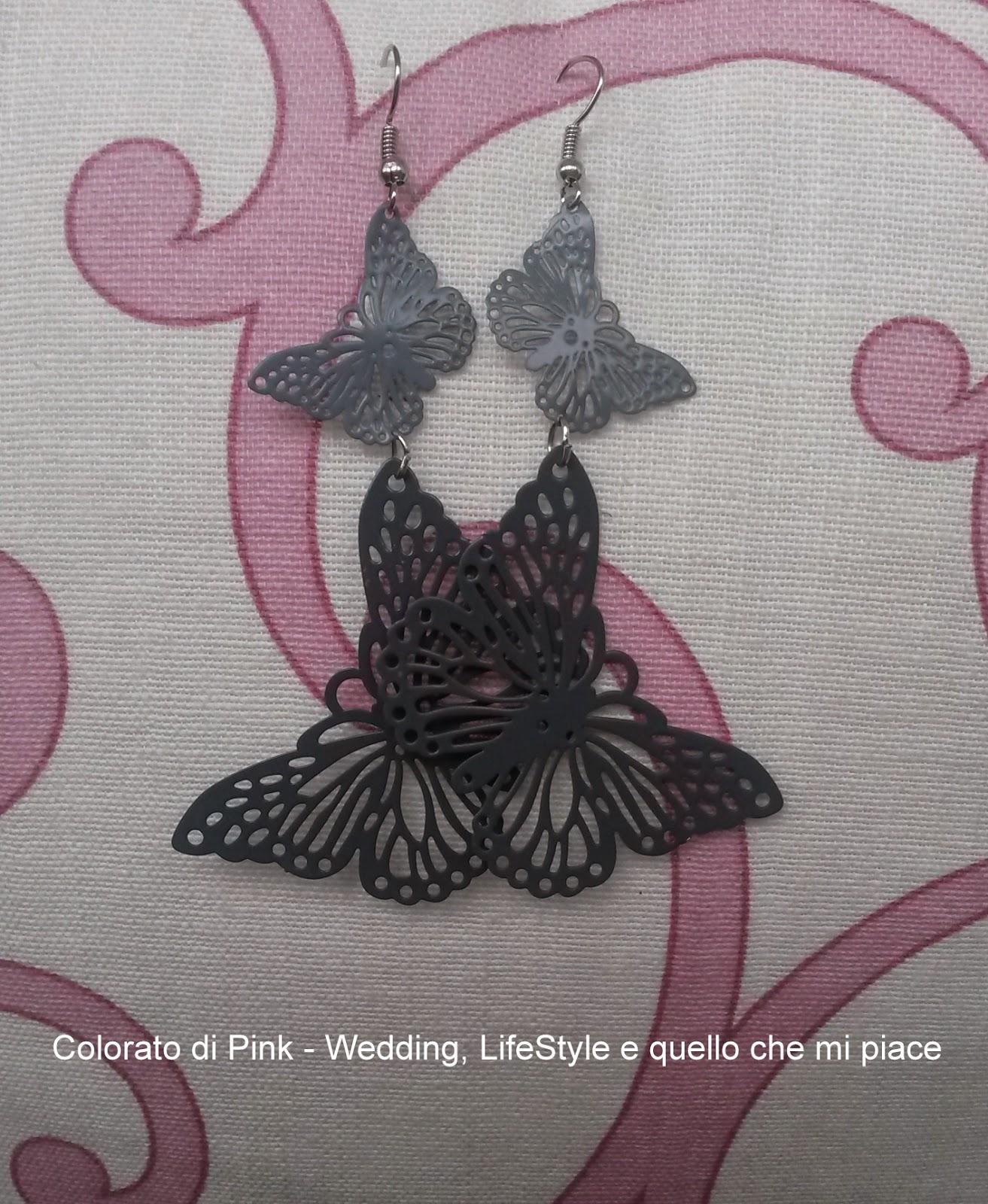 orecchini farfalla metallo wedding grigio orecchini grigi