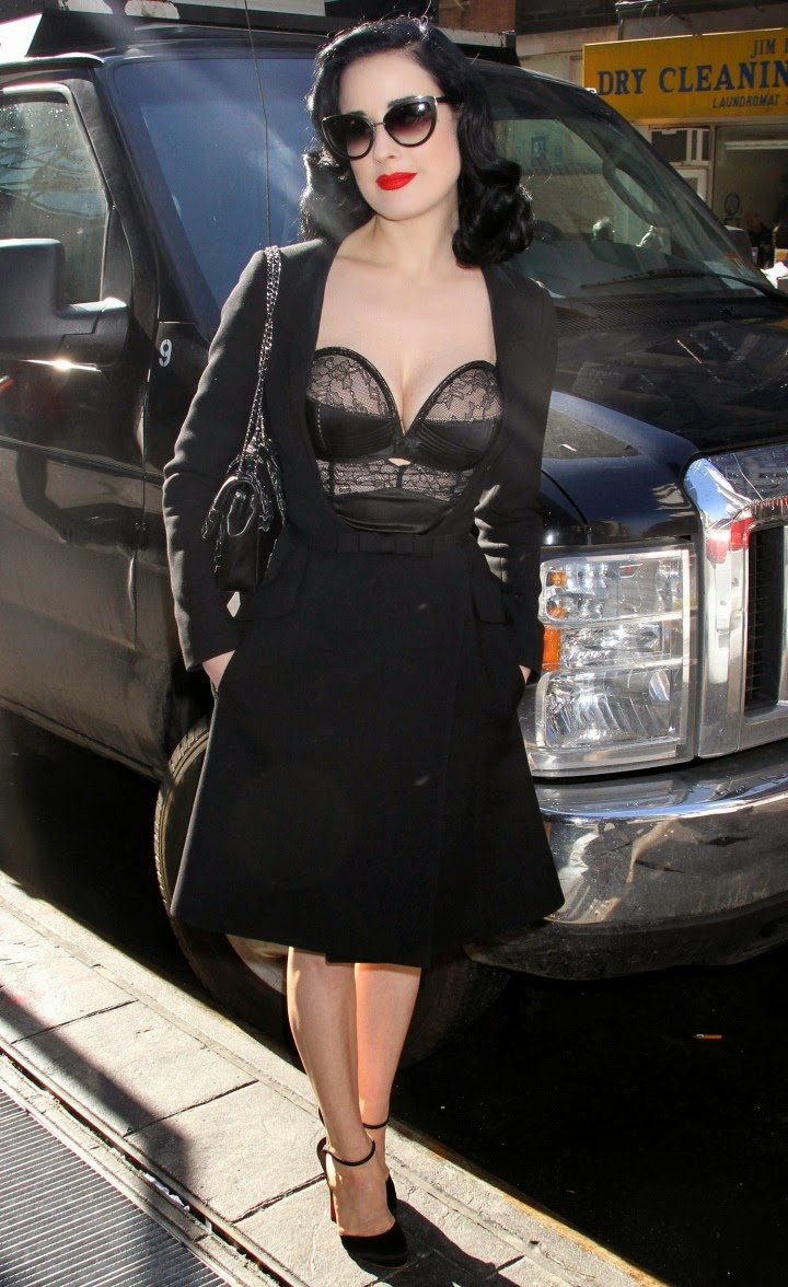 Dita Von Teese wears sheer lace corset to 'Good Morning America' in NY