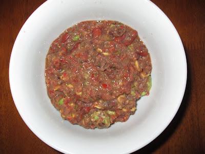 Salsa + Refried Black Beans + Kidney Beans + Avocado