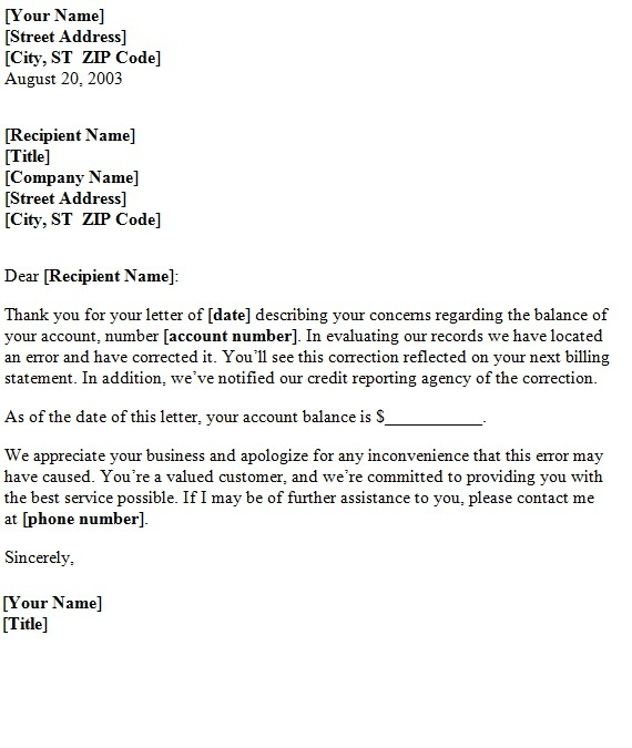 ... Letter of Apology Word Template: Billing Error Letter of Apology.doc