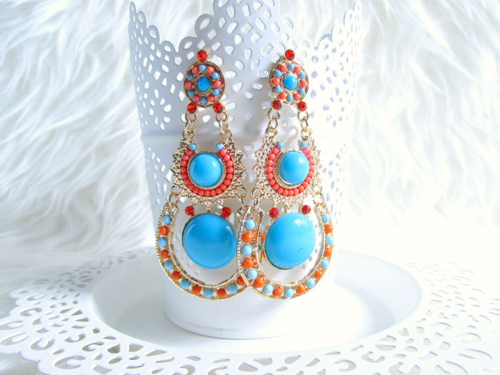 MyVintageSpirit - Gold, Orange & Blue Boho Dangle Earrings - $13.00 USD