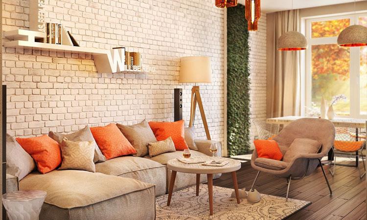 Modern Interieur Warm : Bata ringan type aac modern studio apartment warm interior
