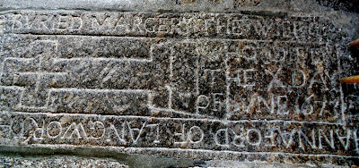 1673 grave inside Widecombe Church on Dartmoor