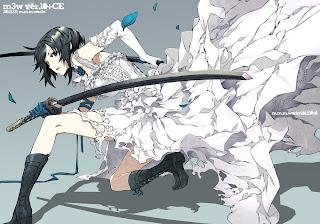 Cool Katana White Dress Short Hair Flower Anime HD Wallpaper Desktop PC Background 1799