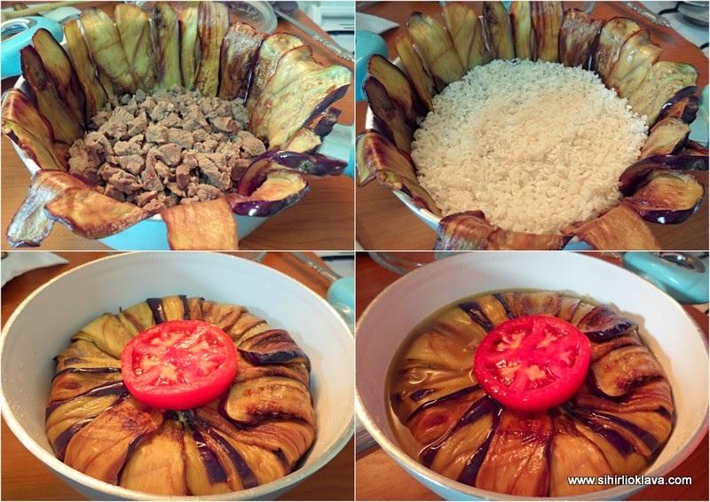 patlıcanlı çevirme pilavı