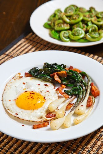 Fried Eggs with Ramps and Bacon on Closet Cooking