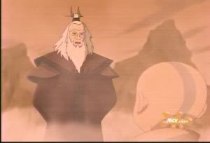 Avatar Roku, the previous Avatar from the Fire Nation, a light-skinned, white-bearded man wearing red robes, speaking to Aang