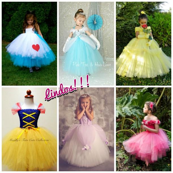 Vestidos com tutu para princesas da Disney!