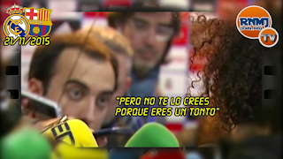 Marcelo llamando tonto a Antón Meana en la zona mixta del Bernabéu