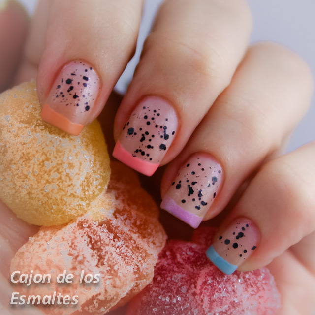 nail art easter colorful french manicure