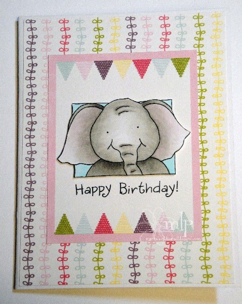 Second card features the fun birthday elephant honey pop set i image