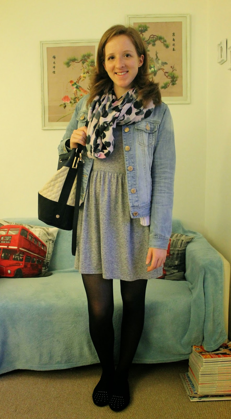 OOTD Lilac Cardigan and Grey T-shirt Dress