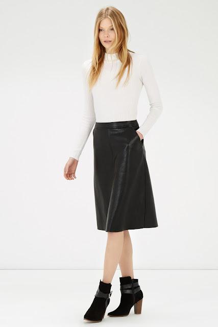 warehouse leather skirt, black leather midi skirt, faux leather midi skirt,