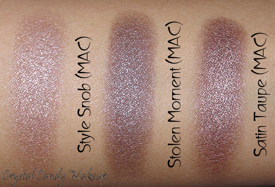 Fard à paupières Stolen Moment de MAC (Collection Glamour Daze) vs Style Snob et Satin Taupe