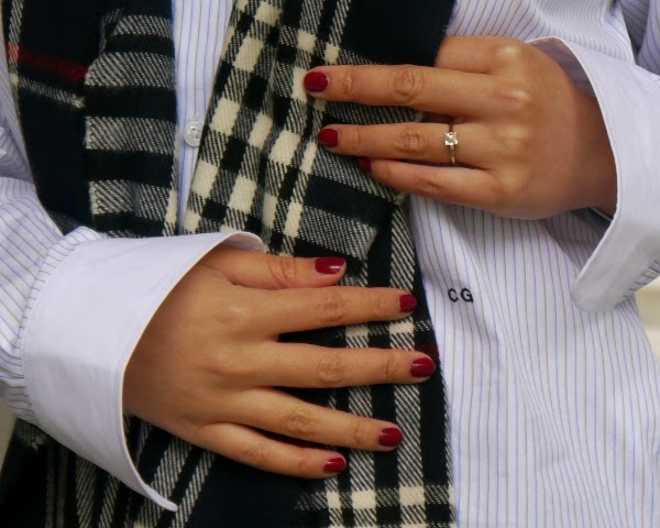 Details: red mani to bring out a bit of red in a plaid pattern