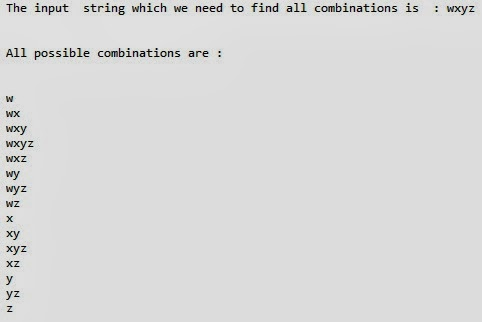 algorithm to find combination of string in java