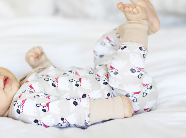 Baby in French bulldog pajamas