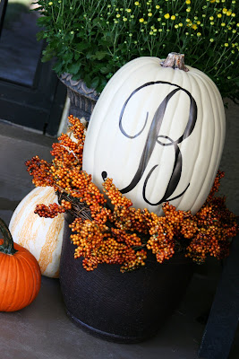 Painted house number pumpkins