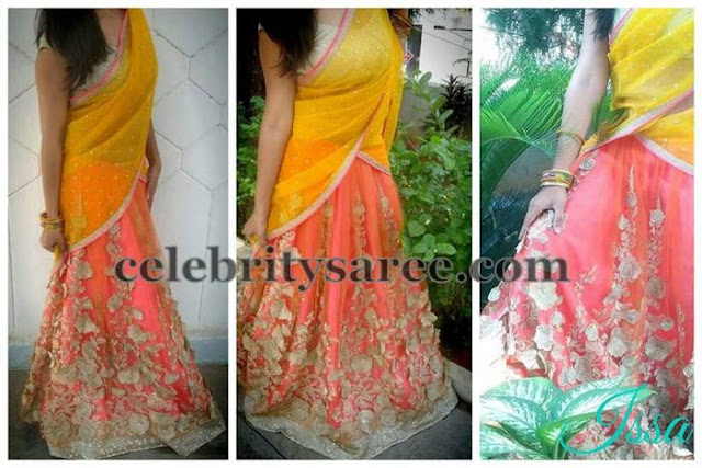 Bright Peach Net Weave Half Sari