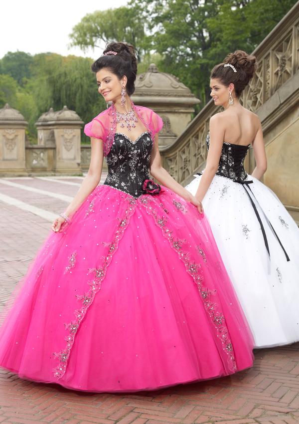 Vestido de 15 años - Color rosa con negro : Vestidos para tu Fiesta
