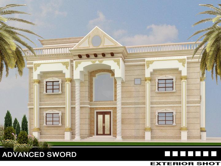 3d front saudi arabia house new villa for Latest villa designs