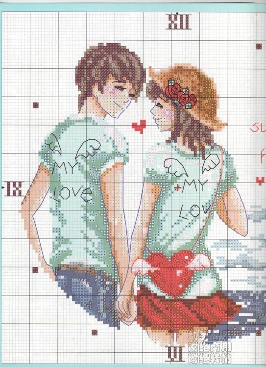 Вышивка крестом схемы влюбленная пара 40