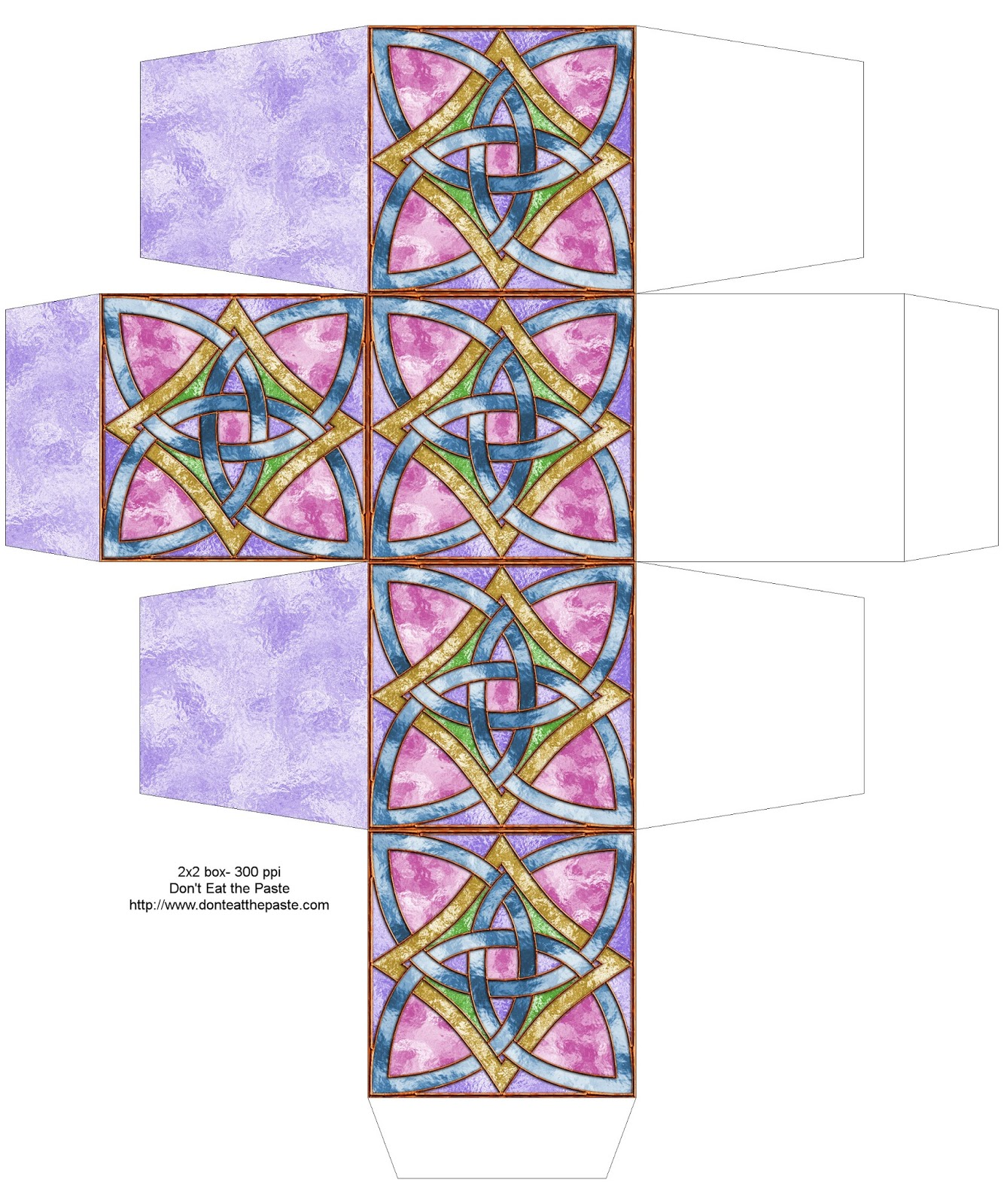 Stained glass effect knot box to print and make #papercrafts
