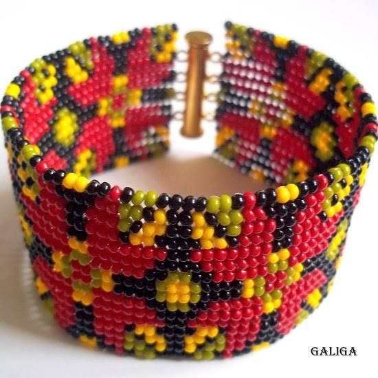 ethnic style beaded jewelry — colorful seed bead bracelet pattern cuff-wide bracelet-native american