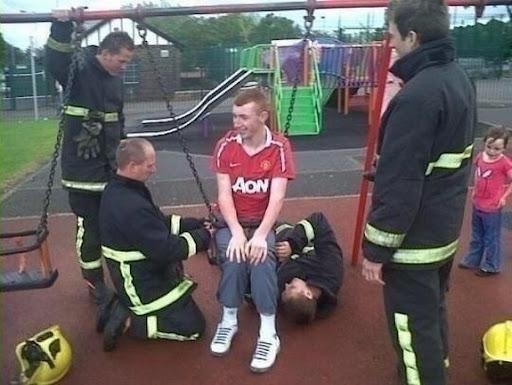 Man Utd fan trapped in child's swing