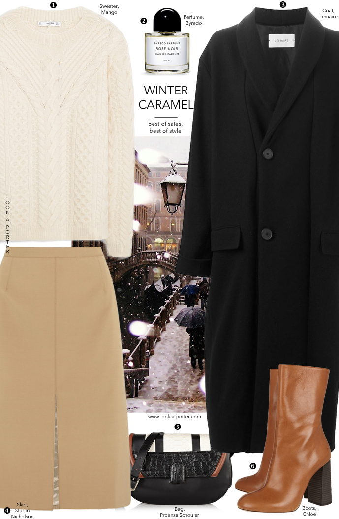 Winter outfit ideas / chunky laters, sweater, camel skirt, wrap coat / Lemaire, Mango, Studio Nicholson, Chloe, Proenza Schouler via www.look-a-porter.com