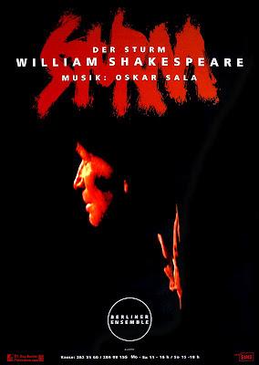 Cartel de Der Sturm, obra original de William Shakespeare, dirigida por Stephan Suschke que contó con música compuesta por Oskar Sala