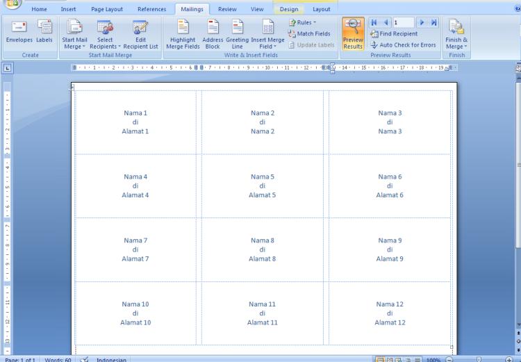 Format Label Undangan 103 di Microsoft Word