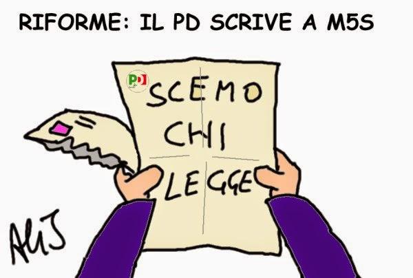 vignetta PD, M5S, Riforme