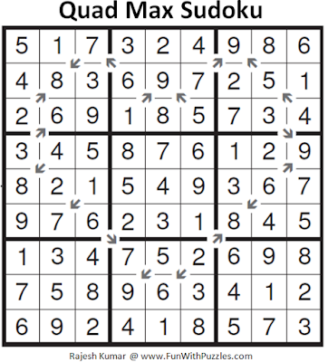 Quad Max Sudoku (Fun With Sudoku #158) Solution