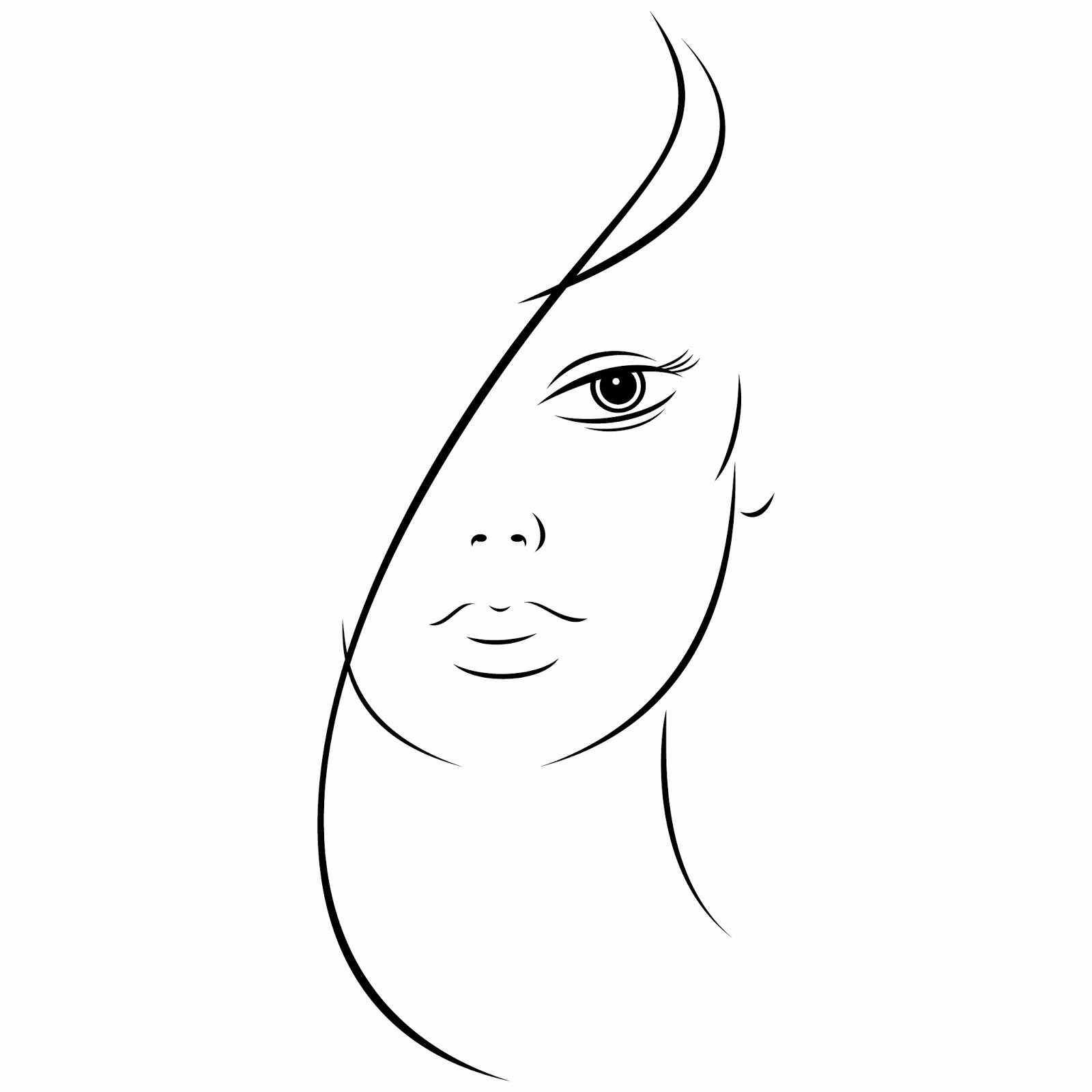 Download FREE EPS Design Graphic Art Vector Illustration: Ink sketch of beautiful young woman face on white background. Vector illustration clip-art design element save in 8 eps