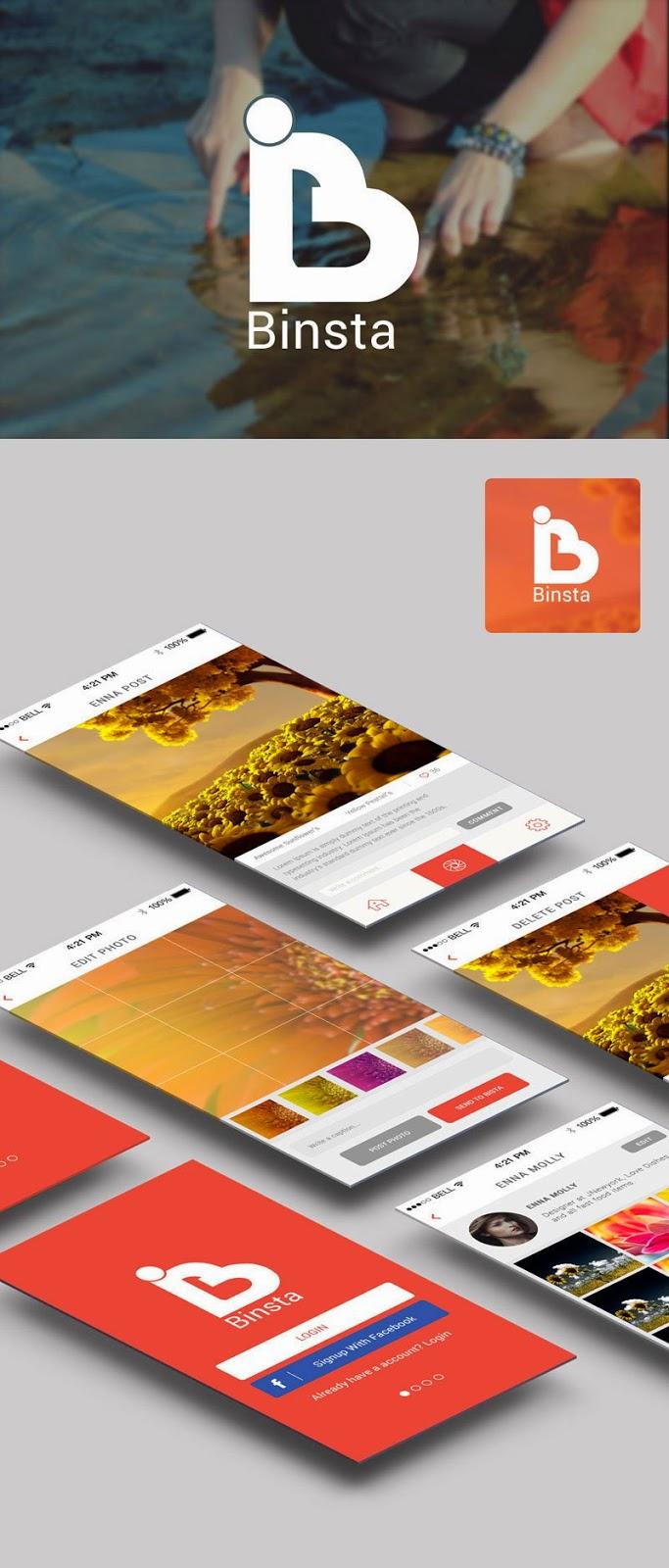 Binsta Mobile App Screens UI PSD