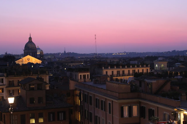 An evening view of the city of Rome from the top of Spanish Steps in Italy