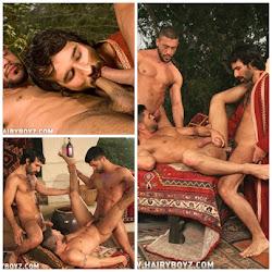 3 machos em oral e anal.