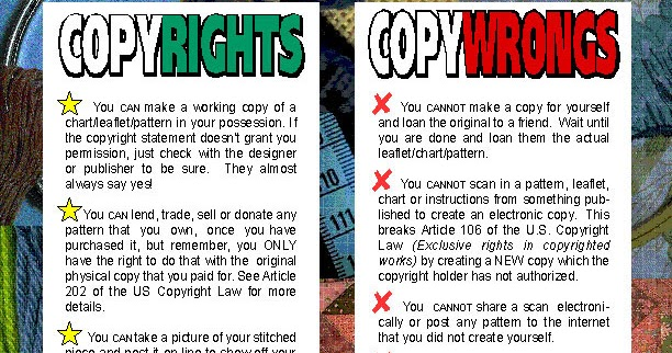 Needlework copyright information copyrights vs copywrongs for Copyright facts and information