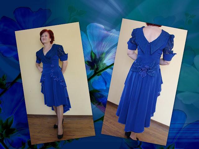 Własny projekt sukienki,odcinana w pasie,w stylu lat 80,baskinka,koronka,krótki rękaw.